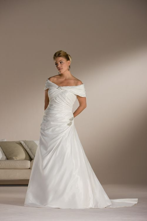 White Plus Size Off The Shoulder Chapel Train Satin Wedding Dress