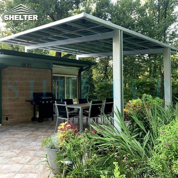 4x4m Bbq Awning In Flat Roof Design Your Patio Awning Sunshield Patio Pergola Aluminum Patio Awnings
