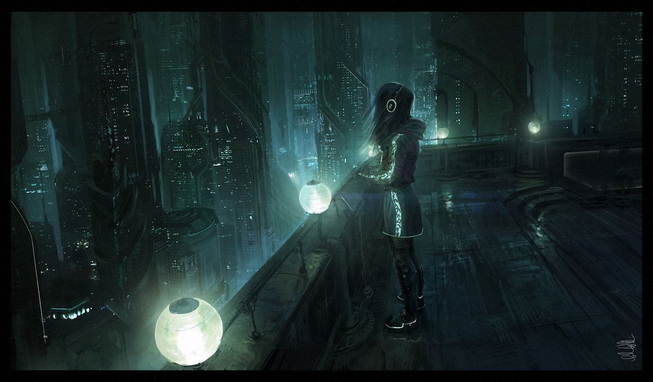 Night Time By Andree Wallin Space In 2019 Cyberpunk