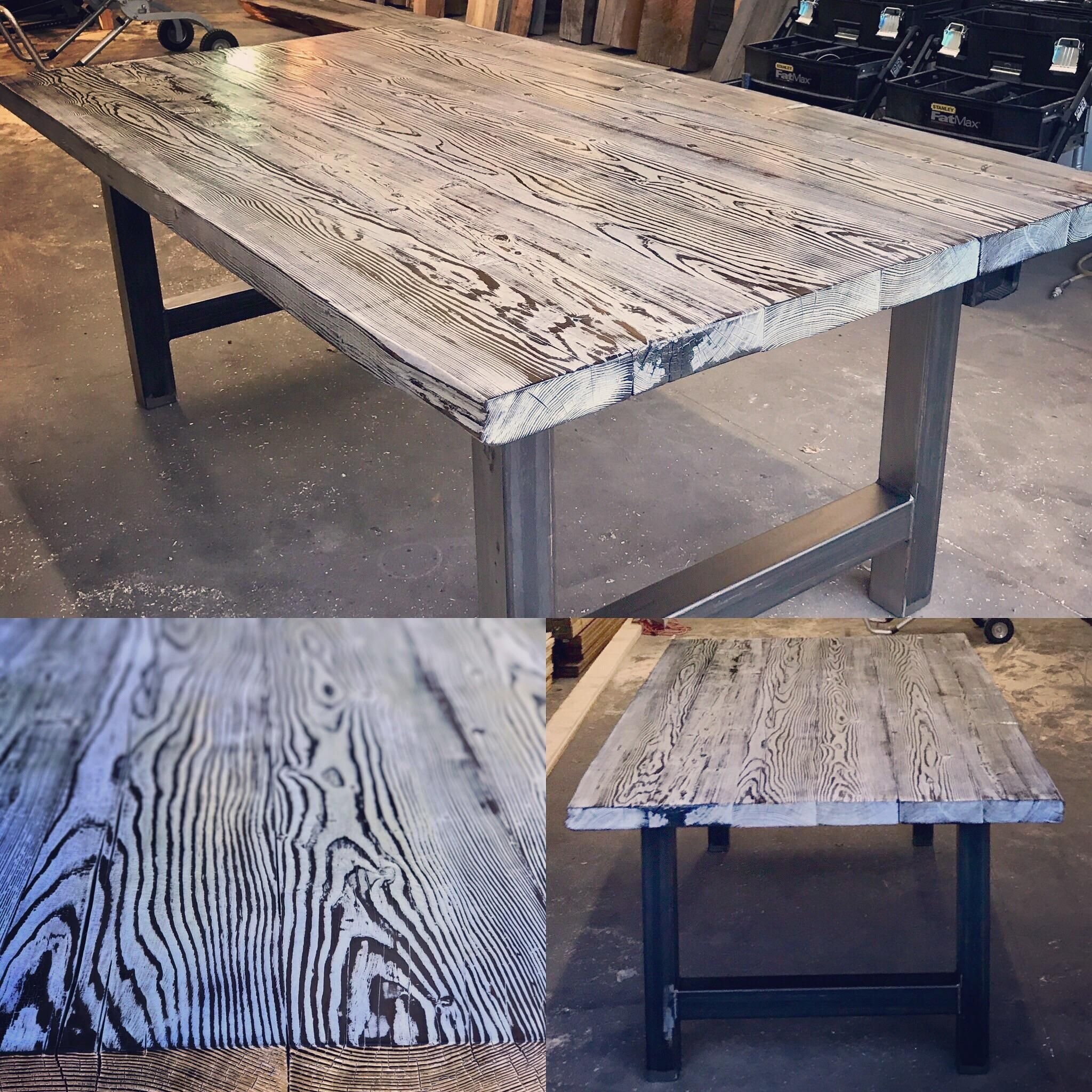 Table I Made For A Client 2 1 2 Thick Douglas Fir Top Shou Sugi Ban Texture And Light Grey Colour Application 3 Tube Ste Kitchen Table Wood Torch Wood Wood