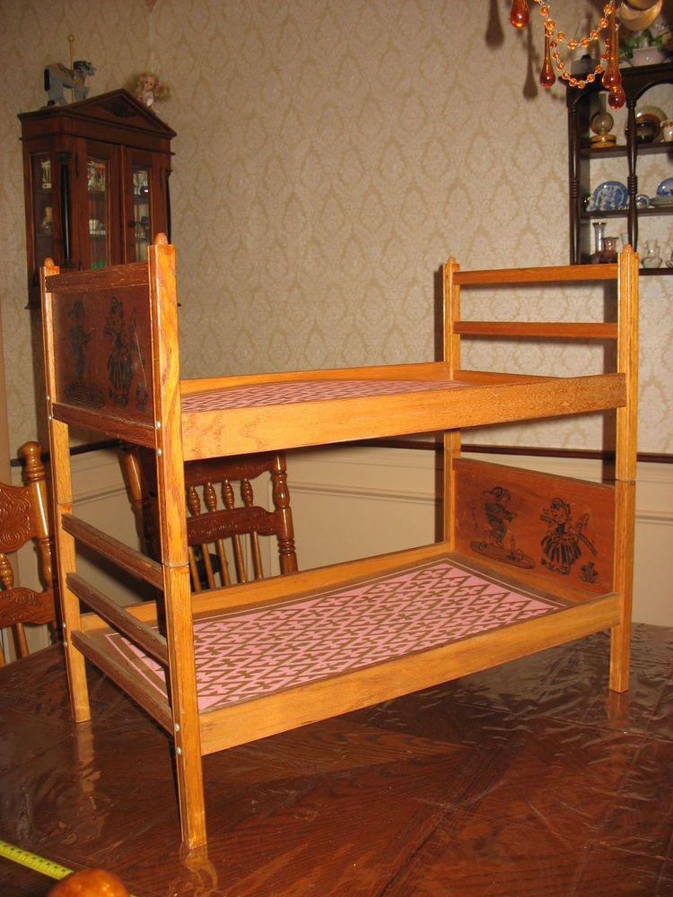 Vintage Old Wood Baby Doll Bunk Bed Fit 17 22 Dolls Nursery