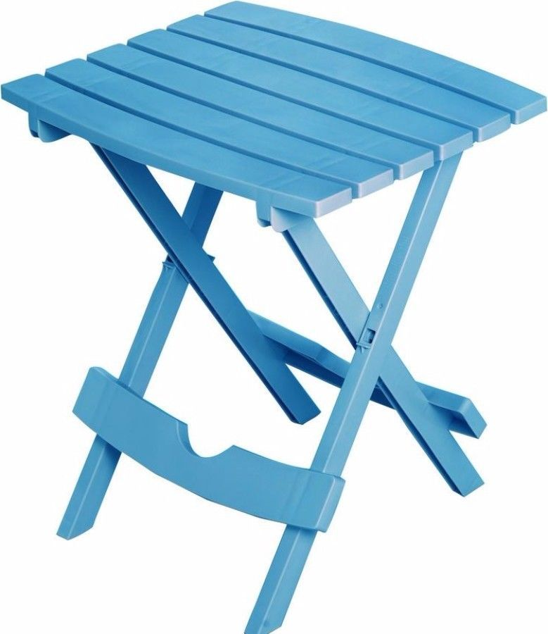 Resin Outdoor Side Table In Pool Blue Finish Foldable Waterproof Patio Furniture