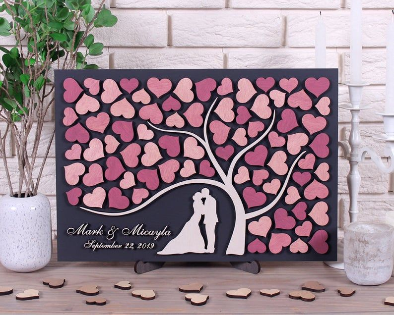 Wedding Personalized Guestbook 3D alternative Guest Book tree wood guestbook rustic wedding  gift wedding ELEGANT WEDDING MEMORY