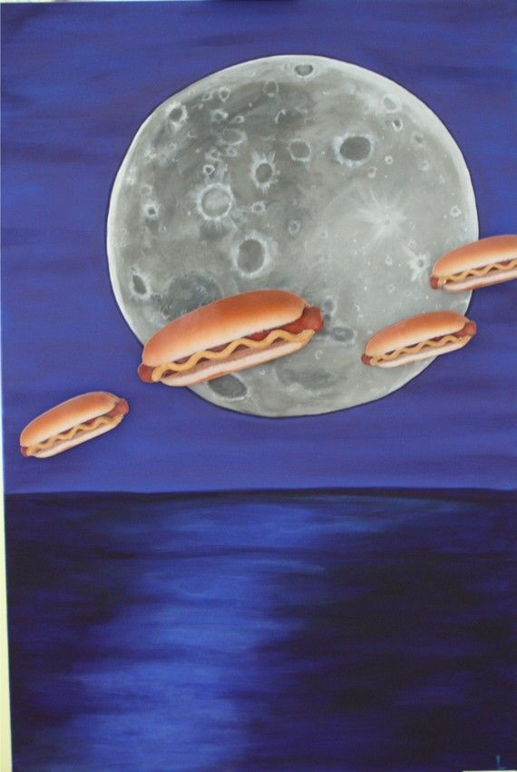 Weiners in Space, https://www.etsy.com/listing/63783946/painting-multi-media-wieners-in-space?ref=shop_home_active_12