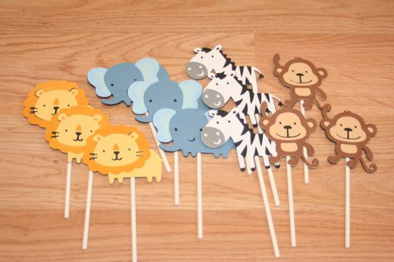 12 Jungle Animal Cupcake Toppers