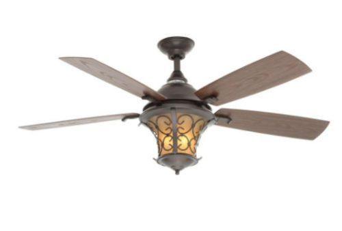 52 Inch 5 Walnut Blades Natural Iron Indoor Outdoor Ceiling Fan
