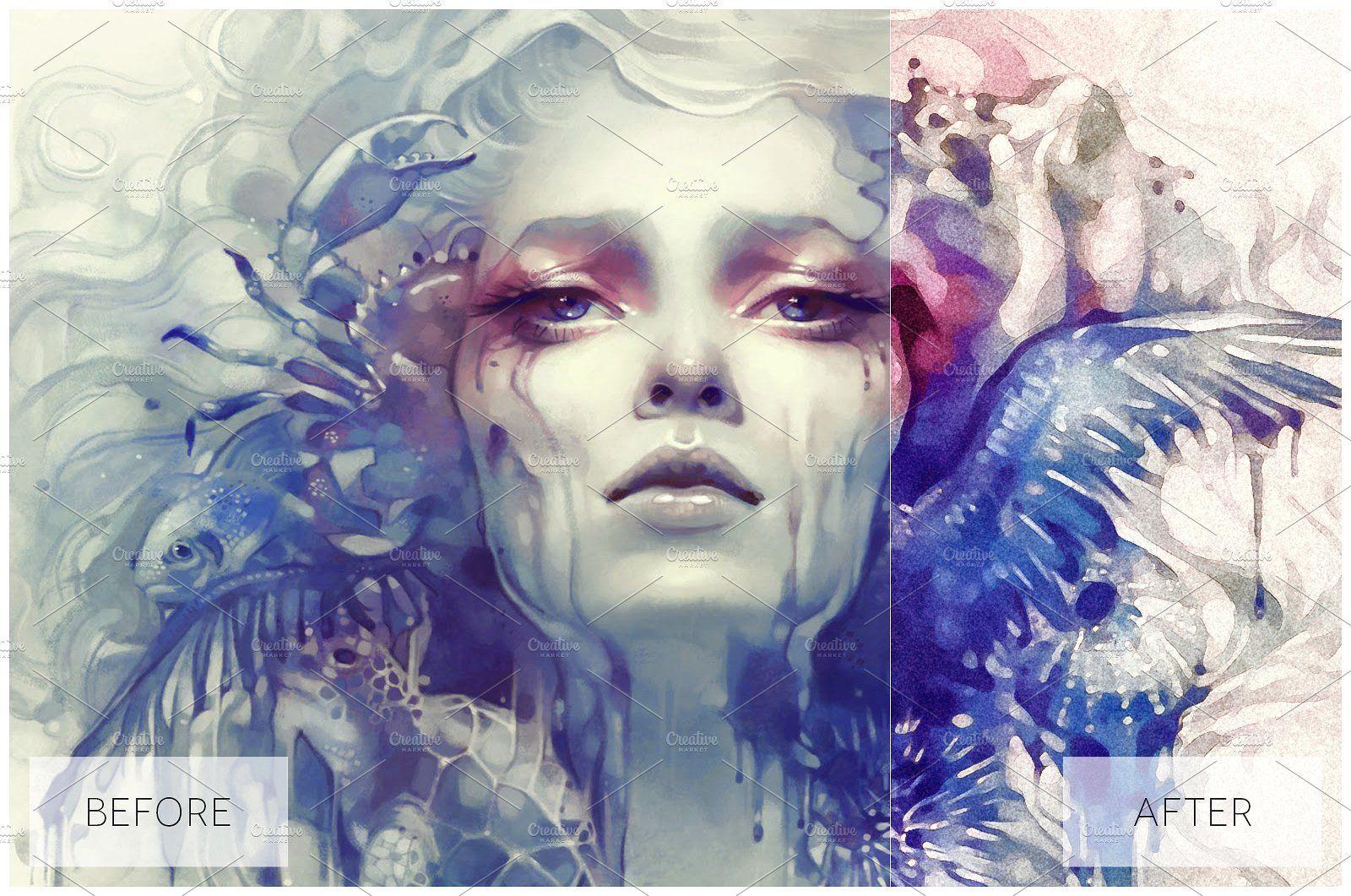 Lovely Watercolor Effect Actions Schetsen Foto S Foto S Schilderen