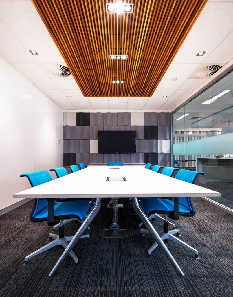 Some sort of ceiling feature drop down boards with lights for Conference room lighting ideas