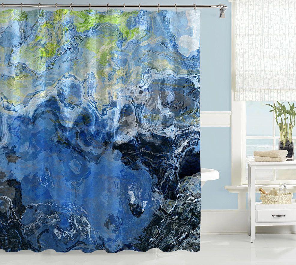 Abstract art shower curtain, blue shower curtain, Liquid Assets ...