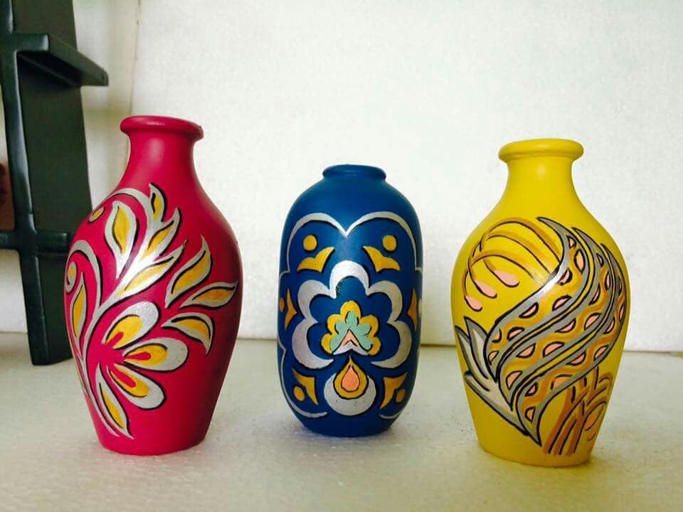 Pot decoration & Pot decoration | Pot decoration | Pottery painting Bottle painting ...