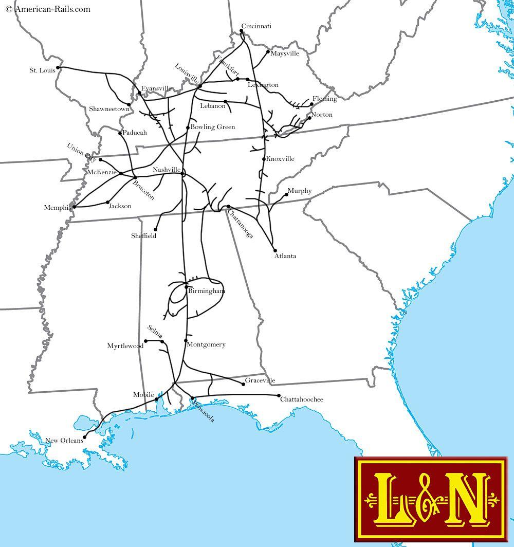 The Louisville And Nashville Railroad Railroad Maps Pinterest - Atlanta to nashville rail on map of us
