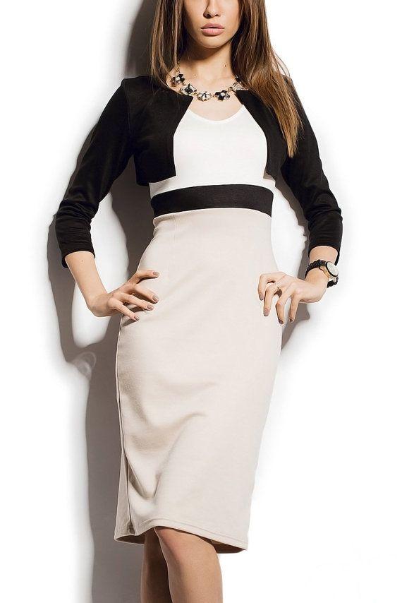 Easy Casual Dress With Black Bolero Jacket Aliceberryfashion