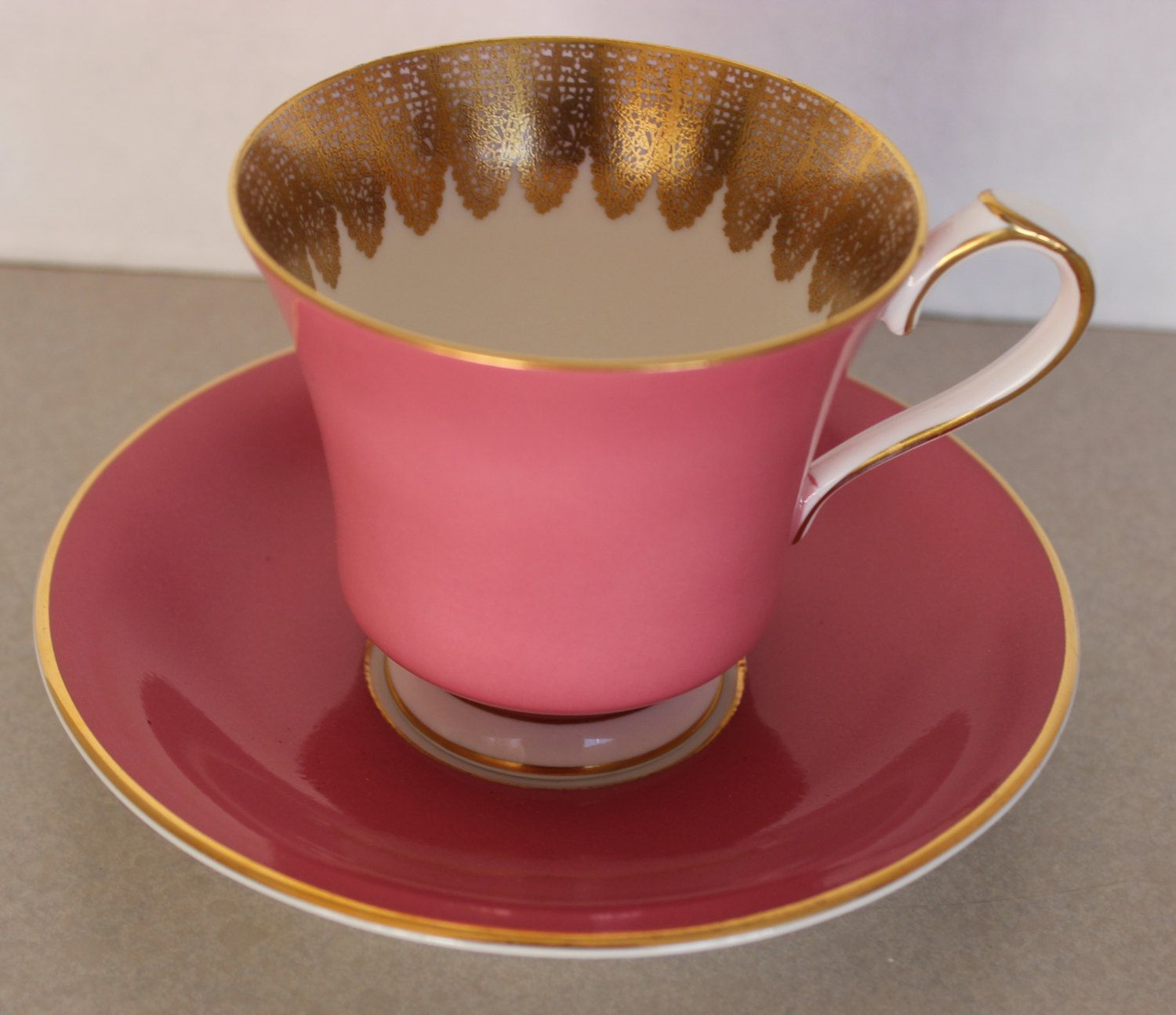 Vintage Ansley Pink and Gold Tea Cup and Saucer Set by Calessabay on Etsy
