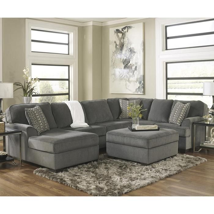 Groovy Loric 4 Piece Sectional And Ottoman In Smoke Nebraska Pabps2019 Chair Design Images Pabps2019Com