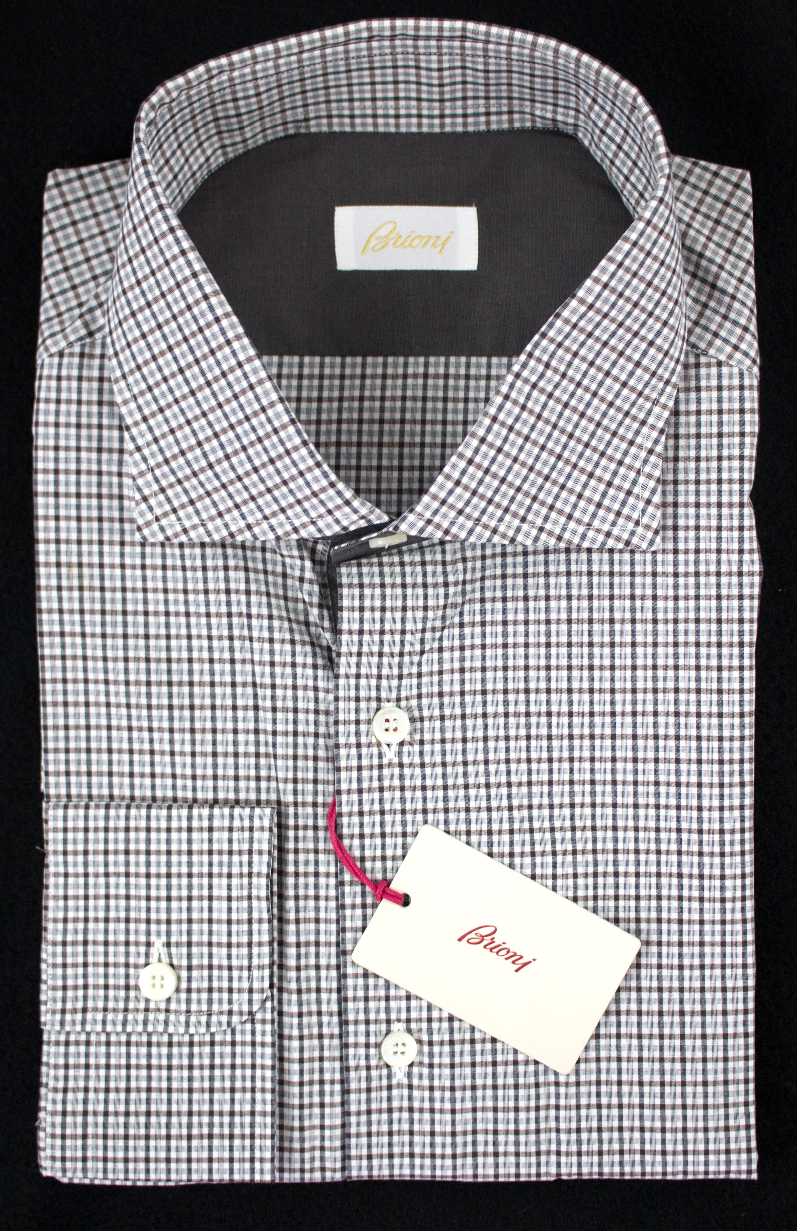 Thin detailed plaid done up in the right colors of this Brioni shirt.     Go shopping: http://www.frieschskys.com/all-shirts/dress-shirts     #frieschskys #mensfashion #fashion #mensstyle #style #moda #menswear #dapper #stylish #MadeInItaly #Italy #couture #highfashion #designer #shopping