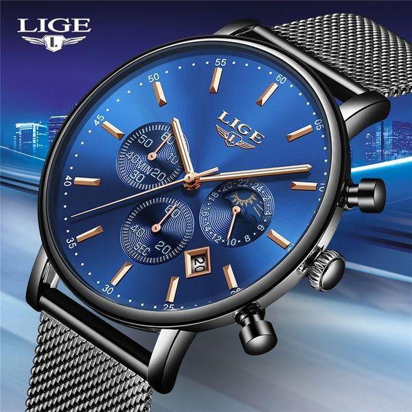 LIGE Fashion Mens Watches Top Brand Luxury Quartz Watch Men