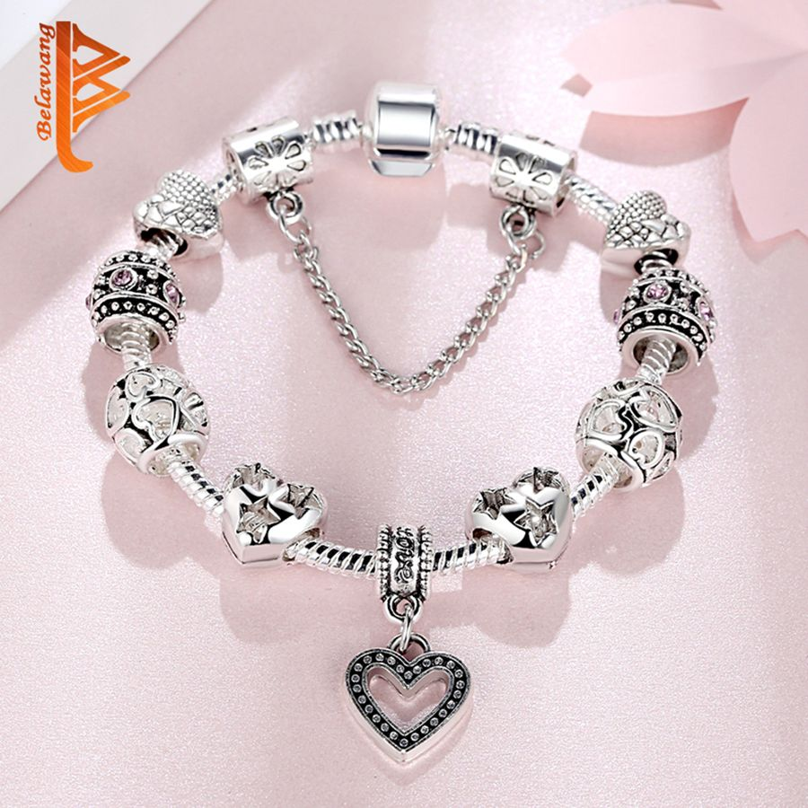 Belawang high quality european silver color beads bracelets