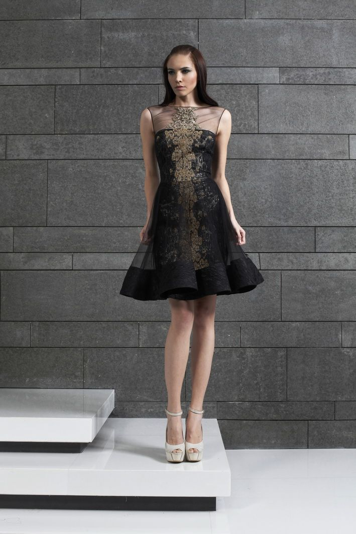 A black dress with gold crystals style