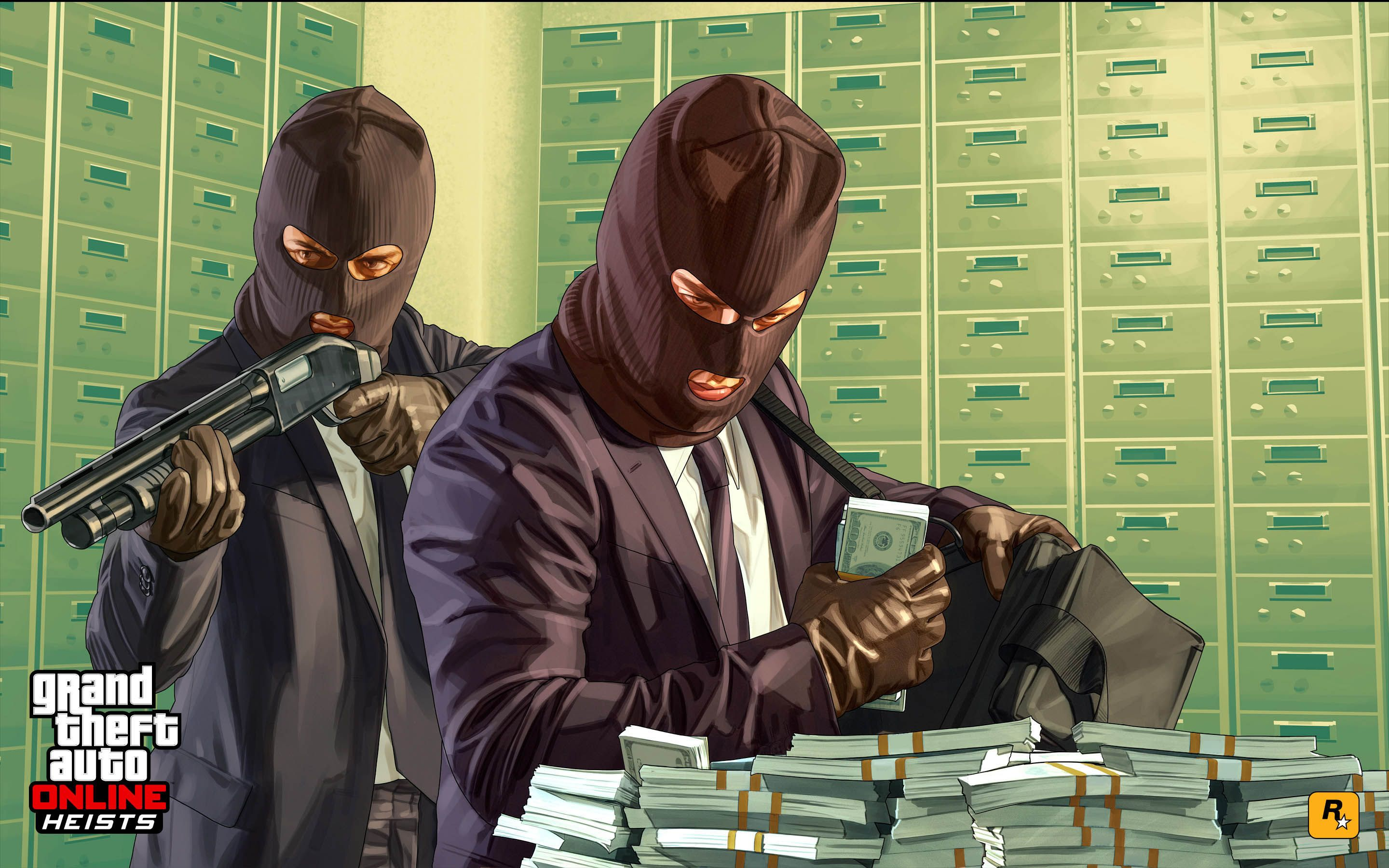 bank heist - gta 5 online update 2880x1800 wallpaper | sucker punch