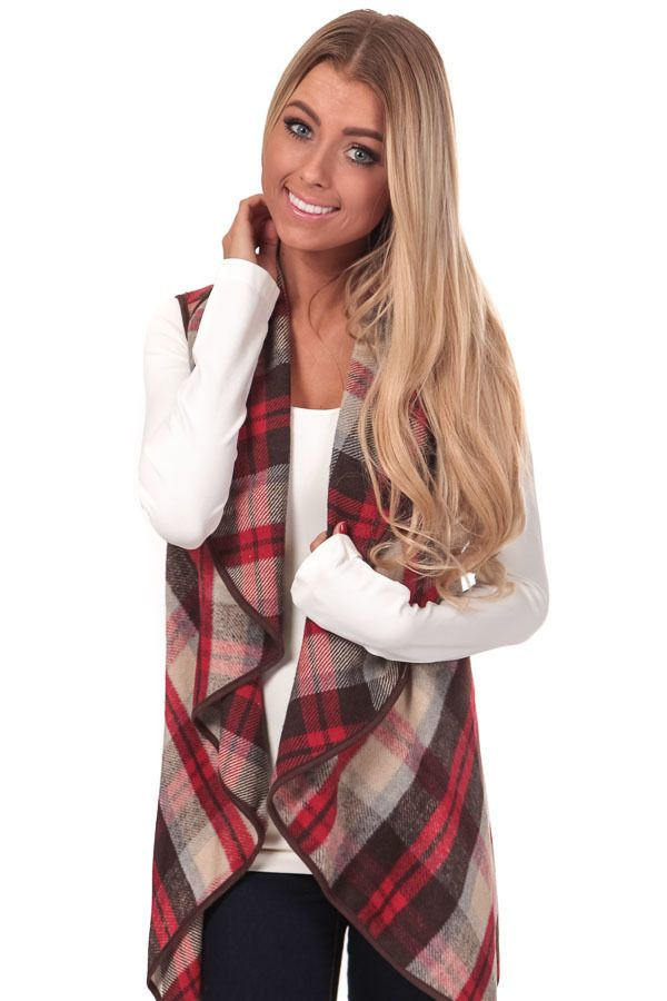 Lime Lush Boutique - Red and Beige Plaid Waterfall Vest, $44.99 (https://www.limelush.com/red-and-beige-plaid-waterfall-vest/)