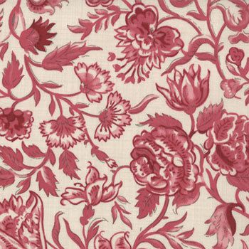 1/2 Yard Rouenneries Deux Floral Clochette Red by French General for Moda