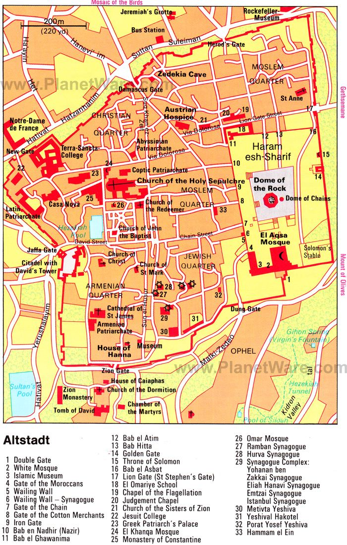 Map Of Old City Jerusalem Planetware 1 Double Gate 2