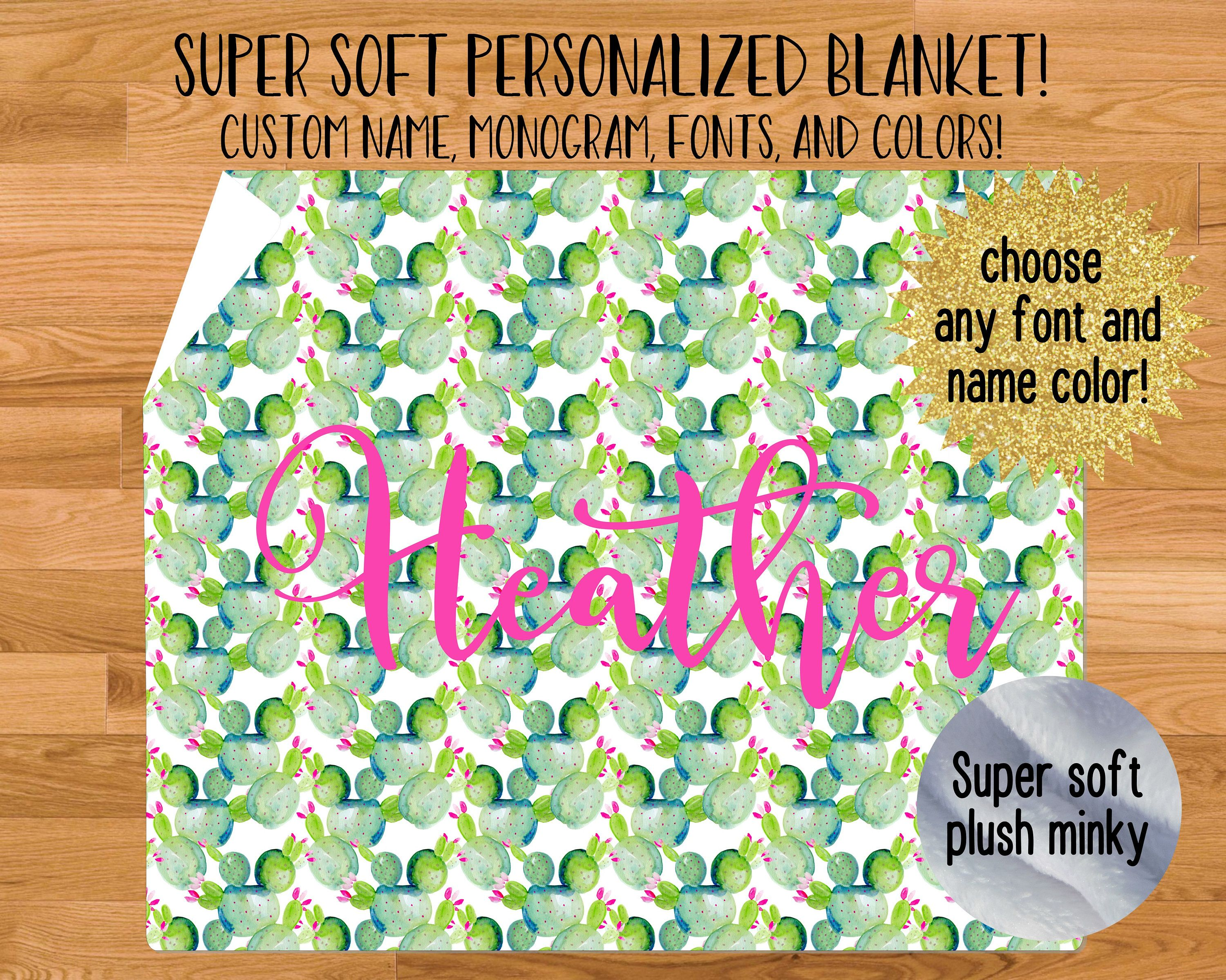 Personalized Watercolor Cactus Blanket With Name Custom Font And