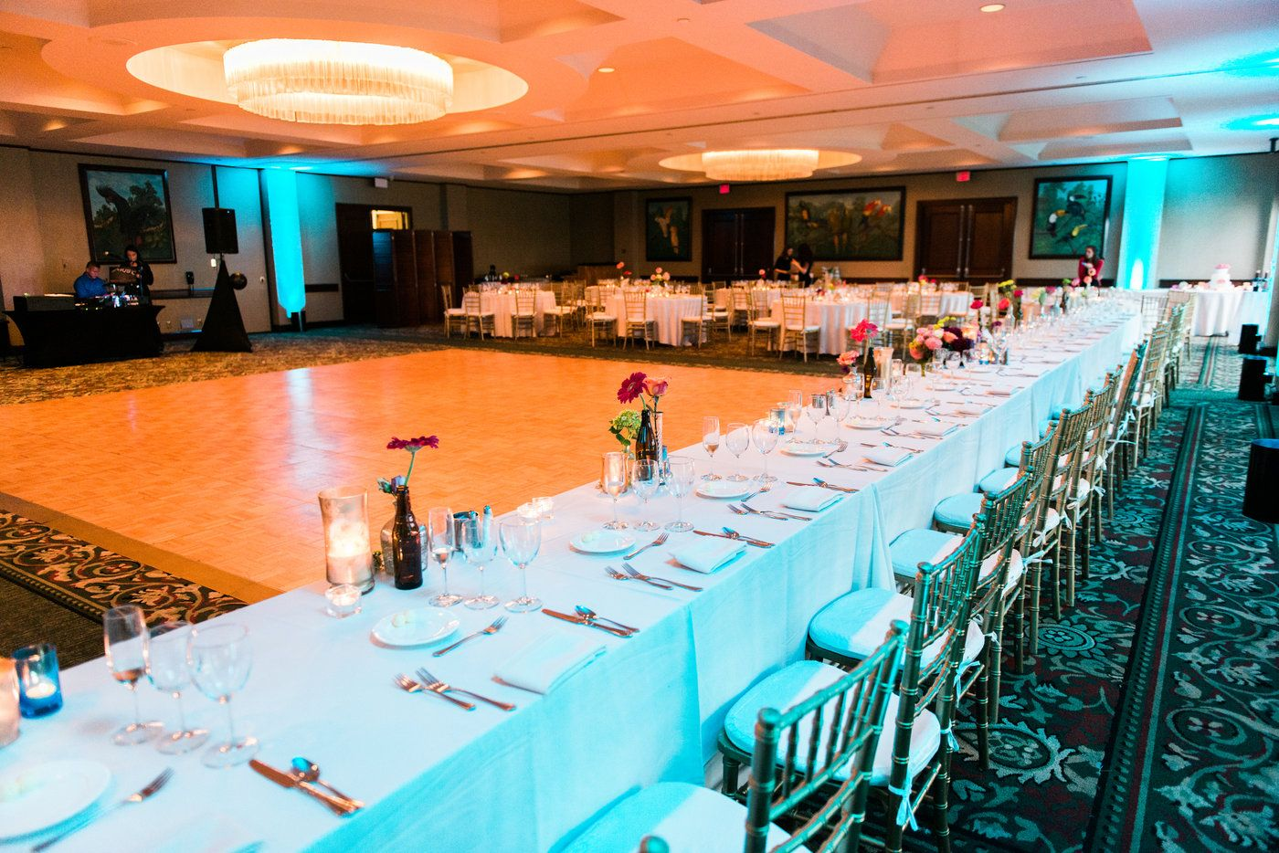Valerie and Ryan's large head table in our Aviary ballroom has a great view of the dance floor.