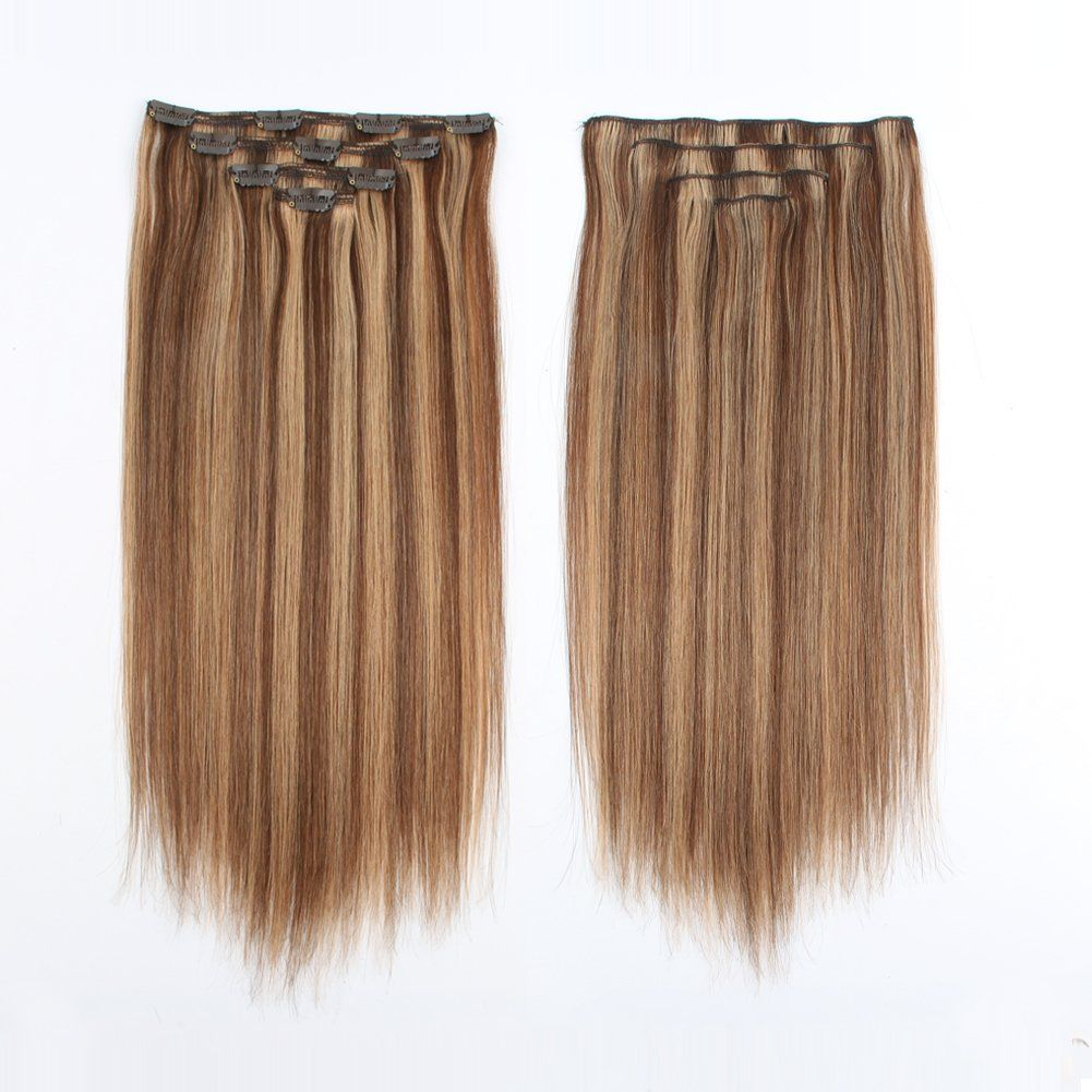 Sassina 80Grams/Set Clip in Human Hair Extensions Real
