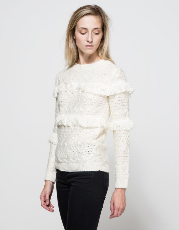 Directional Yet Demure Clothing For The Cool Modern Woman: Fringe Sweater, Soft Knit