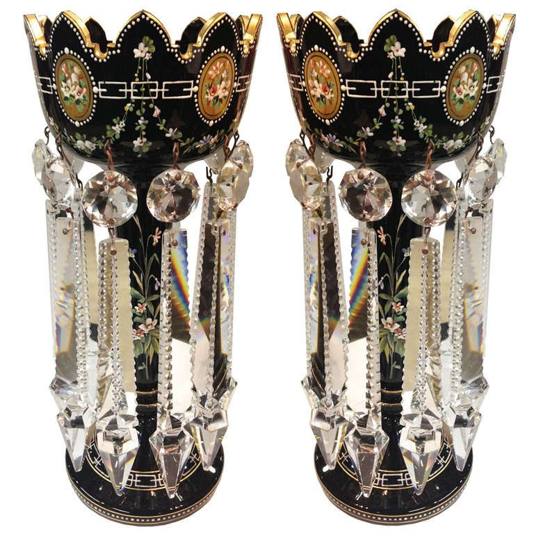 Exceptional Moser Enameled Gilt Decorated Lusters Rare Black Glass circa 1900 | From a unique collection of antique and modern glass at http://www.1stdibs.com/furniture/dining-entertaining/glass/