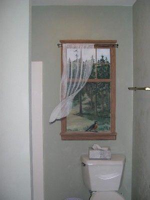 A nice idea for a windowless bathroom trompe l 39 oeil for Windowless kitchen ideas
