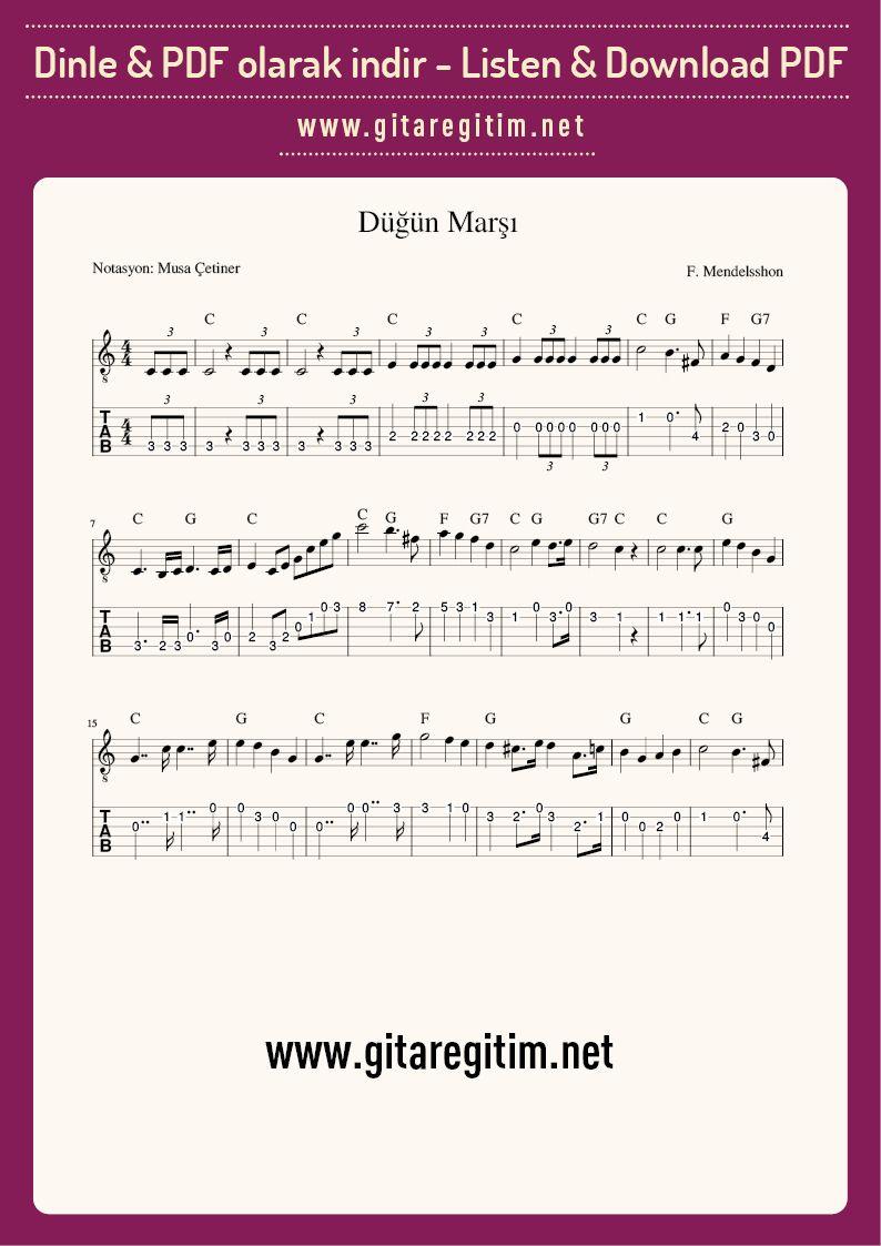 Dugun Marsi Gitar Nota Tab Gitaregitim Net Muzik Sarkilar Dugun
