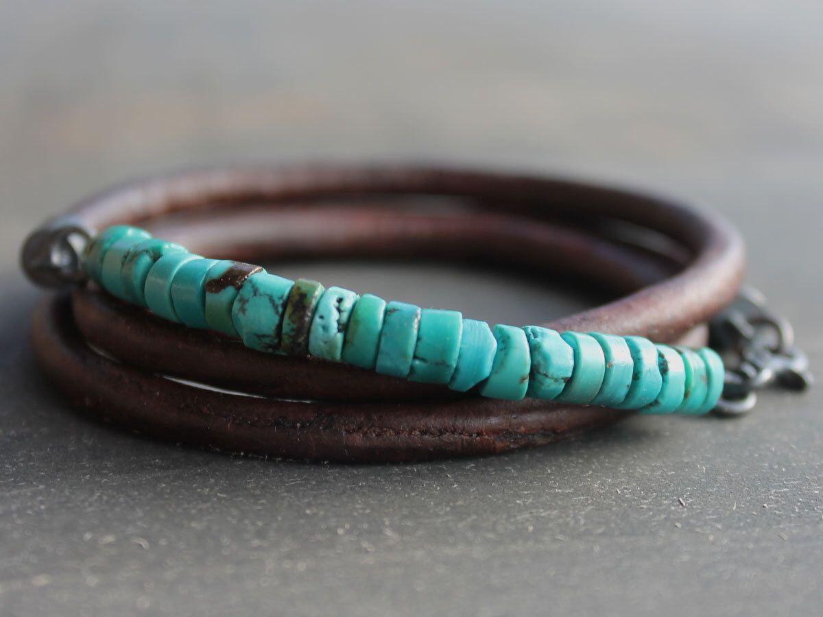 Trendy mens bracelet cuir turquoise en argent sterling mens bijoux