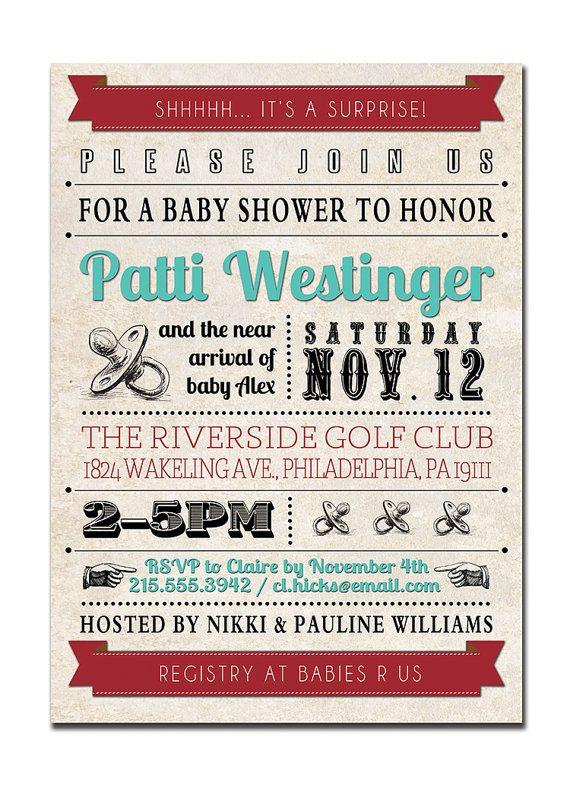 Baby Shower Invitation Vintage Retro Baby Shower Typography Retro