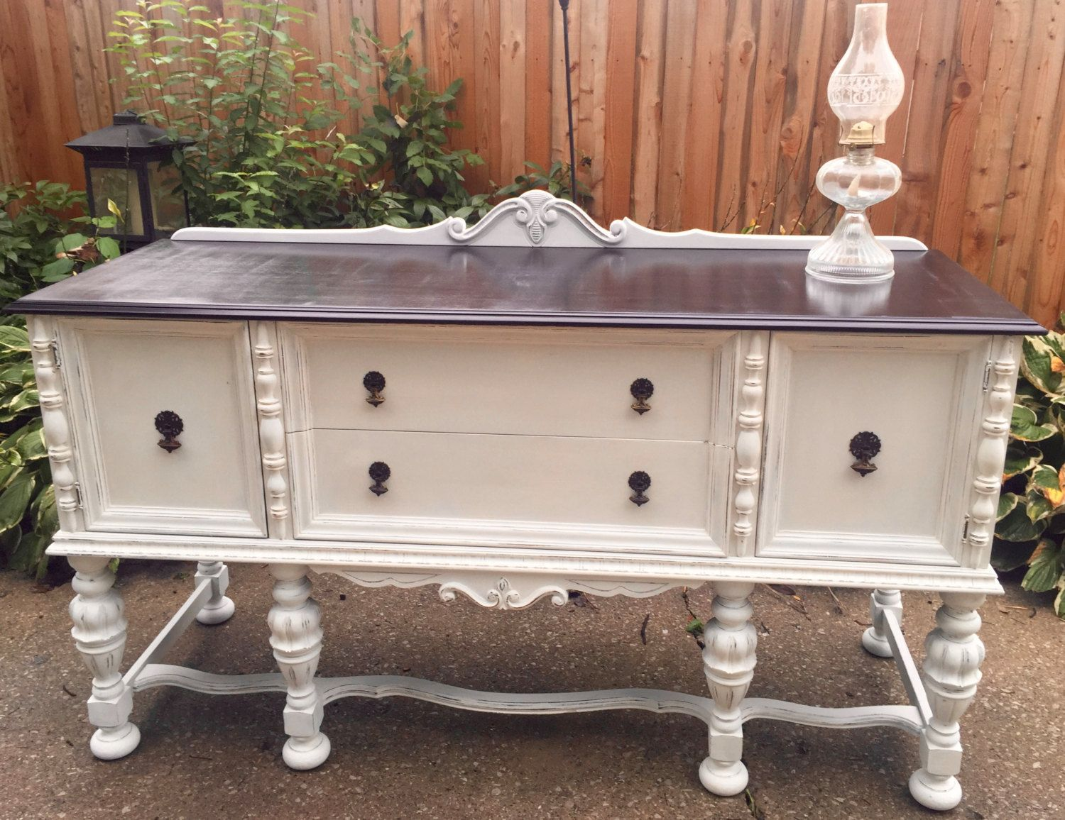 vintagevintage ornate buffet shabby chic buffet 1930 39 s buffet white furniture stained top. Black Bedroom Furniture Sets. Home Design Ideas