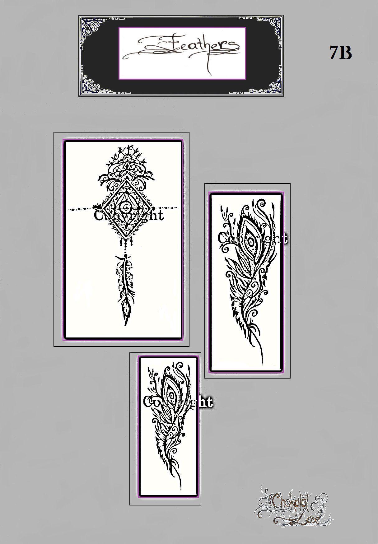 0ad13493836da Feathers, (7B), Henna, Jagua, Tattoo Stencils on Vegan Carbon Thermal  paper(purple) for practice, parties, birthdays, hen's, weddings by  ChokalatLace on ...