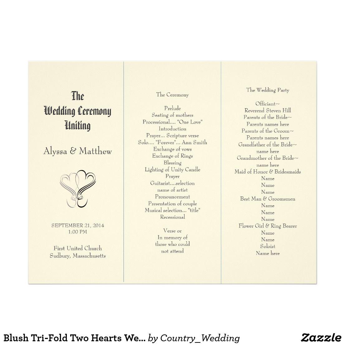 blush tri fold two hearts wedding program template wedding program