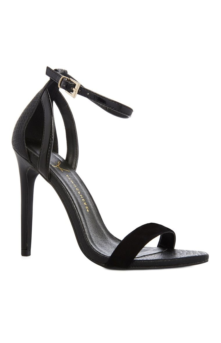 517434486 Primark - Black Single Strap Heel Sandal | shoes | Single strap ...