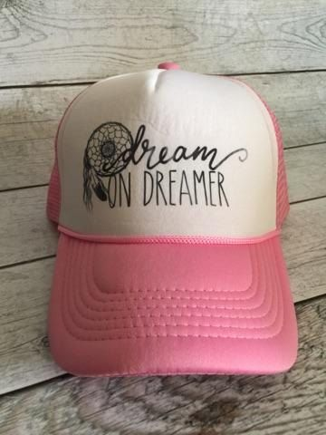 f8ea8c41014 Pink Dream on Dreamer Trucker Hat by TheFoxyLlamas on Etsy