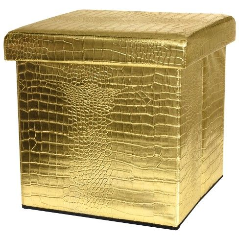 Swell Gold Faux Leather Storage Ottoman Oriental Furniture Ocoug Best Dining Table And Chair Ideas Images Ocougorg