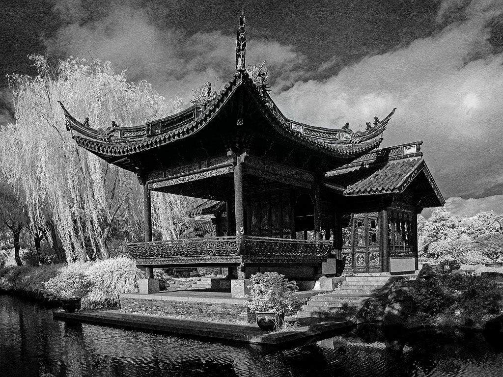 Infra Red Chinese river side structure, South Yuehu Park Terrace Ningbo, #China #Travel #Photography