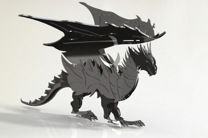 Dragon sheet metal puzzle, Dragon, 3d model, puzzle, fantasy dragon