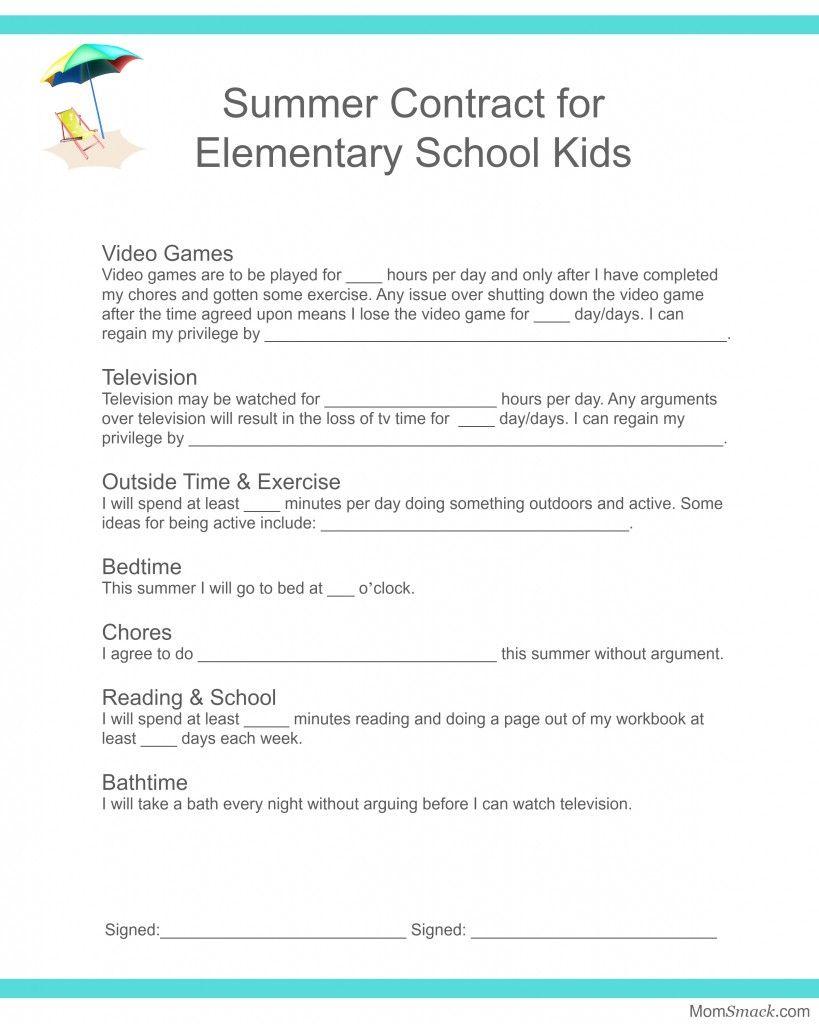 Summer Contract Elementary School Kids #summerschedule