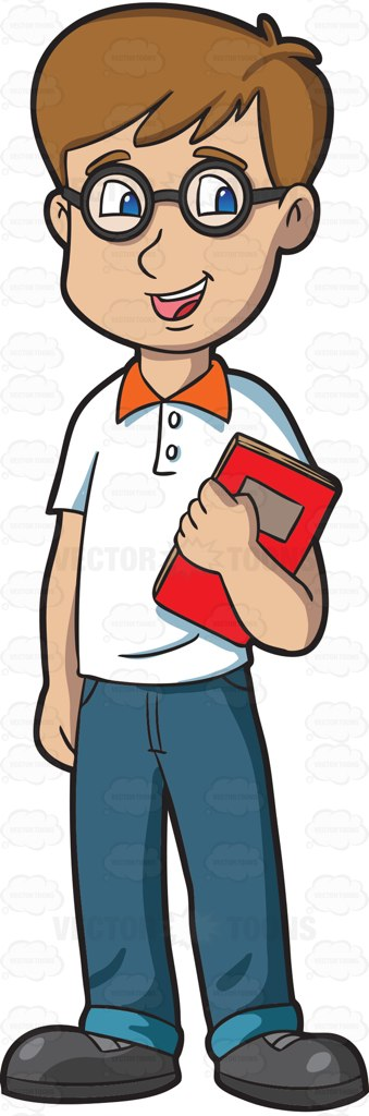 A Male High School Student With Glasses Cartoon Clipart ... Happy High School Student Clipart