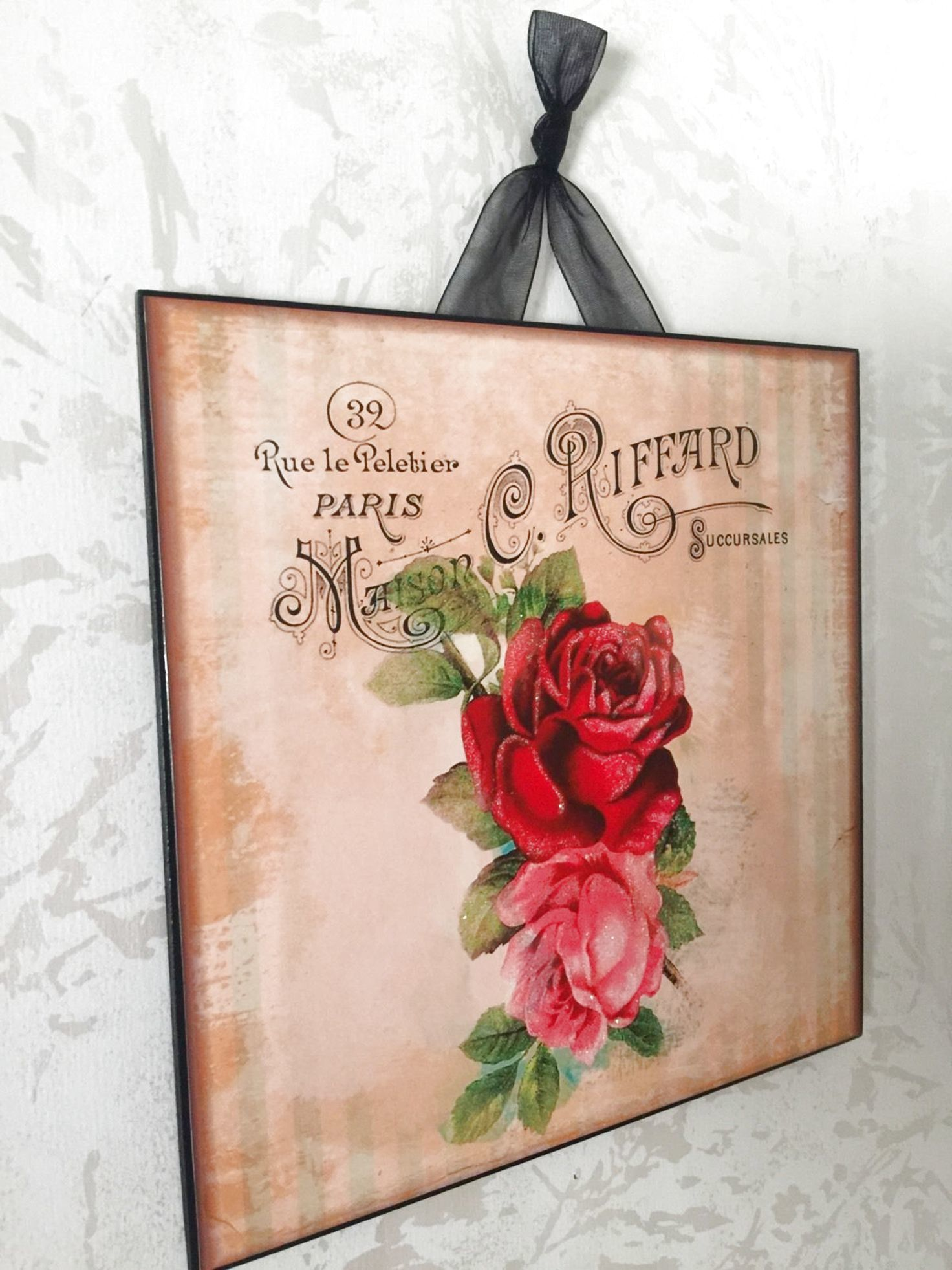 Vintage Paris Shabby Rose Wall Decor Sign Plaque French Country