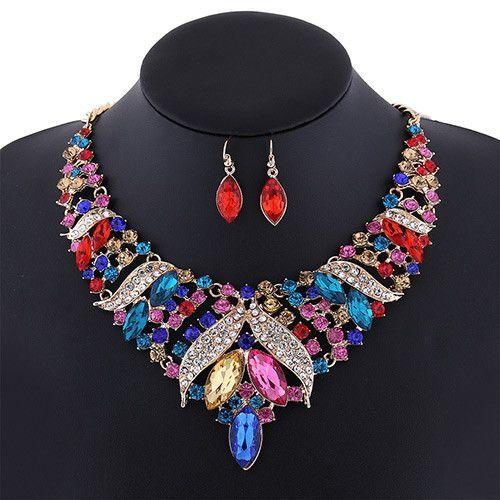 Multicolor Oval Diamond Shape Jewelry Set