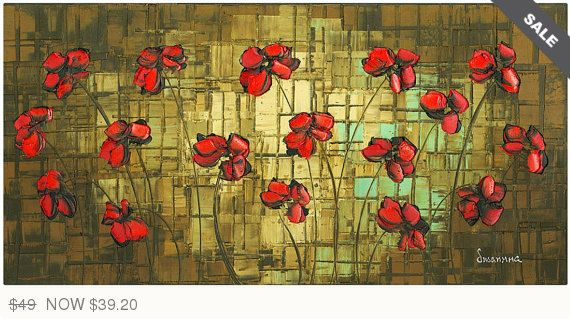 Abstract Red Poppy Art PRINT on Canvas Landscape Wall art Home Decor ...