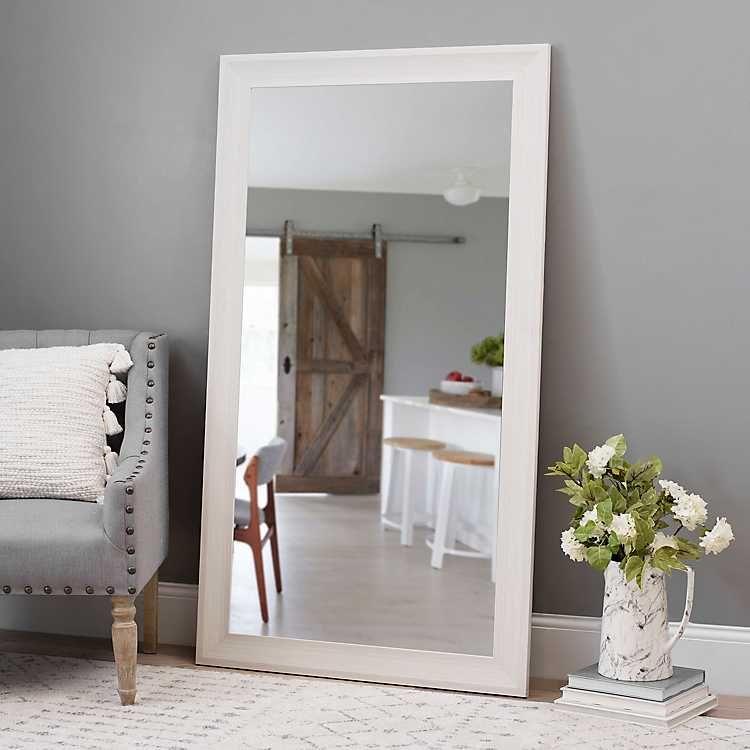 White Wood Grain Framed Mirror 37 5x67 5 In Kirklands White Mirror Frame Wall Mirror Decor Living Room Ikea White Frames Large white framed mirror