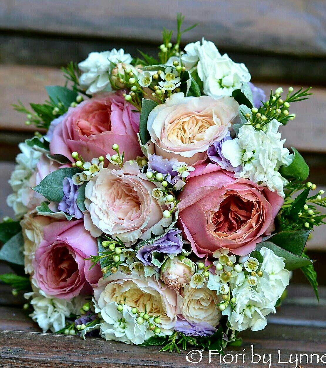 english garden roses wedding bouquet stock hydrangea waxflower green foliage